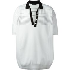Raf Simons oversized polo shirt (€1.120) ❤ liked on Polyvore featuring tops, white, unisex polo shirts, oversized white top, raf simons, polo shirts and white top