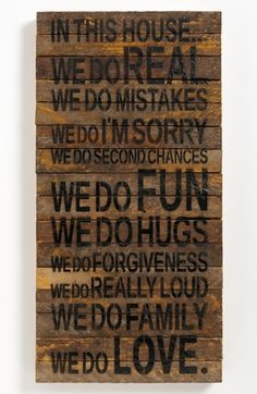 Rustic wall art handcrafted from wood repurposed from tobacco laths found on Wisconsin farms features a list of rules to keep your household fun, light and full of love. <ul> x <li>Wood.</li> <li>By Second Nature By Hand; Rustic Wall Art, Rustic Walls, Wood Wall Art, Wood Walls, Rustic Wood, Repurposed Wood, Salvaged Wood, Reclaimed Wood Signs, Wooden Signs