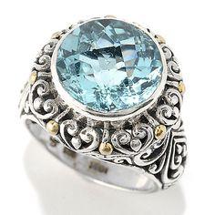 149-299 - Artisan Silver by Samuel B. 18K Gold Accented Checkerboard Cut Gemstone Ring