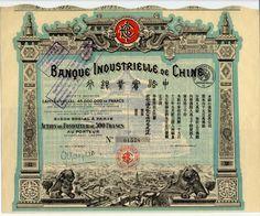 BANQUE INDUSTRIELLE DE CHINE Aktie de Fondateur über Frcs. 500 # 1578; Paris, 15. März 1913