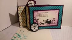 World of Dreams stamps set by Stampin' UP! made into a wiper card (technique shared by Splitcoaststampers 8/14/2009). Supplies: Blackberry Bliss & Very Vanilla Card Stocks, layered with Bohemian Designer Series Paper. Ink: Jet Black StāzOn & Blackberry Bliss water based dye ink. Side panels left blank for sender to write special message. For additional ideas & purchase of supply, please visit my store at www.stampinup.net/esuite/home/suzy-q/