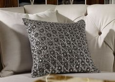 Silver Embellished Pillow