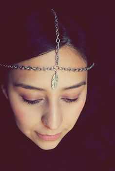 Chain Headpiece Silver Feather