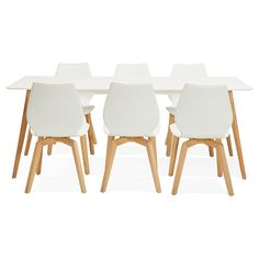 table manger design scandinave clementine en bois 200x90x75 cm blanc