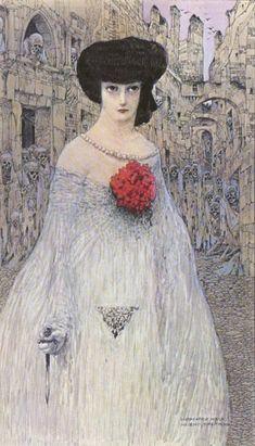 "fleurdulys: "" The Woman with the Skeletons(Lady Macbeth) - Gustav-Adolf Mossa 1906 "" Gustav Klimt, Gustav Adolf, Lady Macbeth, Art Nouveau, Illustrations, Illustration Art, Glasgow Girls, Bearded Lady, Digital Museum"