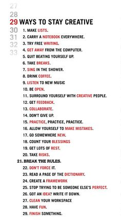 In honor of Leap Day, here are 29 Ways To Stay Creative.