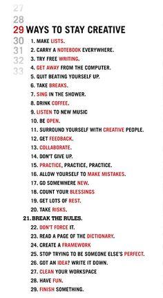 29 formas para mantenerse creativo.