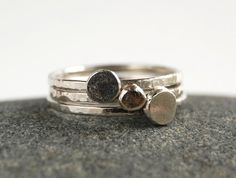 Set of 3 Sterling Silver Stacking Rings - All Metal Hammered Thin Band with Circles on Etsy, $27.78 CAD