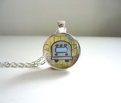 Airstream Travel Trailer Pendant with Road Map by KimBuilt on Etsy, $14.95