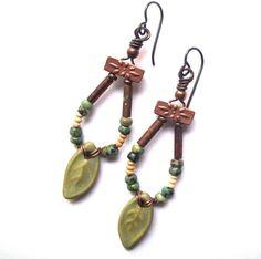 Gypsy Jewelry, Lightweight Earrings, Rustic Earrings, Niobium Earrings, Boho Handmade Earrings, Gypsy Ceramic Earrings, African Turquoise Stone
