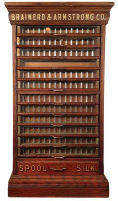 Unique Storage:  Spool cabinet, Brainerd  Armstrong Co. Spool Silk, oak