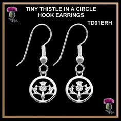 Tiny Thistle In A Circle Earrings