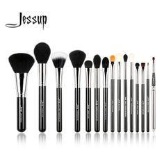 Jessup pro 15 pz pennelli trucco set powder foundation ombretto eyeliner lip strumento pennello nero e argento