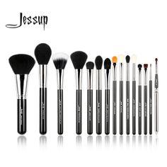 Jessup 프로 15 개 메이크업 브러쉬 세트 파우더 파운데이션 아이 섀도우 아이 라이너 립 브러쉬 도구 블랙 실버