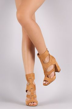 Suede Strappy Peep Toe Chunky Heel