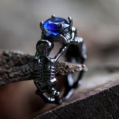 Morbid Curiosity Blue Stone Gothic Ring