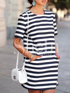 Multicolour Tees Short Sleeve Striped Pockets Dress -SheIn(Sheinside) Mobile Site