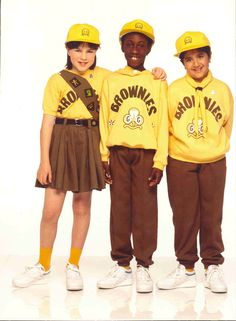 This was the 'new' uniform when I was at brownies- the sash to put your badges on was awesome! When you ran out of space on the front, you were in 'dude' territory....