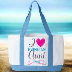 I Love Being an Aunt - Tote Bags: 100% durable polyester - #product #bag #aunt #design #vwdesigns