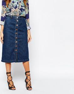 Image 4 of Warehouse Button Through 70s Midi Denim Skirt