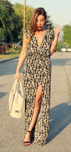 Outfit of the Day featuring a Grecian like maxi dress with high-slit.