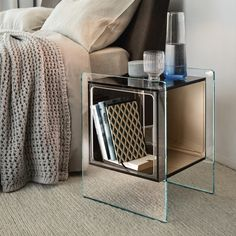 Magique Cubo Sophisticated Nightstand - Italian Designer & Luxury Furniture by Cassoni Glass Chair, Glass Dining Table, Luxury Italian Furniture, Italia Design, Glass Structure, Modern Coffee Tables, Contemporary Bedroom, Nightstand, Bedside Tables