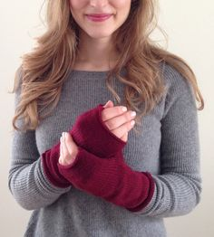Hand-Knit Fingerless Mittens in a zillion colors.