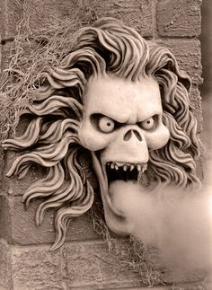 wraith by provia_17, via Flickr.  Think I'll have the hubs mount a shelf in one (or both?) of the cemetery entrance pillars & make a hole for a fogger to recreate this for our haunt. Love the flowing hair and sinister expression.  Think I can aproximate this look using one of my masks casted. This will blow our guests away. Pun intended!