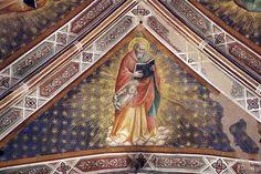 Agnolo Gaddi - Evangelisti della Chiesa, dett. San Matteo - affresco - 1385 - volta Cappella Castellani - Basilica di Santa Croce a Firenze.