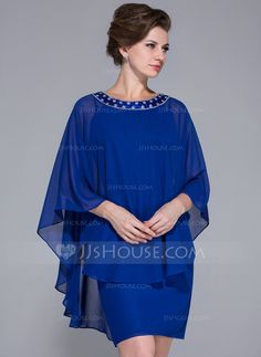 Sheath/Column Scoop Neck Knee-Length Chiffon Charmeuse Mother of the Bride Dress With Beading (008025716)