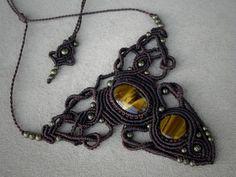 Macrame necklace, tigers eye, bohemian jewelry, goddess necklace, tribal…