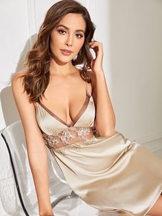 To find out about the Floral Lace Mesh Insert Satin Cami Dress at SHEIN, part of our latest Nightgowns & Sleepshirts ready to shop online today! Satin Cami Dress, Dress P, Satin Nightie, Satin Dresses, Pyjama Satin, Satin Pajamas, Velvet Cami, Pin Up, Lingerie Sleepwear
