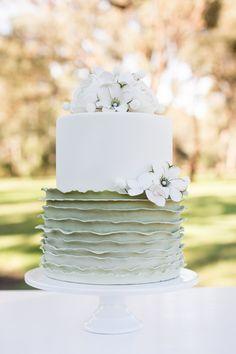 green Ombre ruffle effect cake