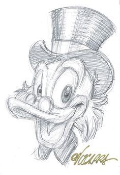 Vizcarra, Joan – Original preparatory sketch – Uncle Scrooge – W. Vizcarra, Joan – Original preparatory sketch – Uncle Scrooge – W. Disney Drawings Sketches, Cute Disney Drawings, Cool Art Drawings, Cartoon Sketches, Pencil Art Drawings, Animal Drawings, Drawing Sketches, Drawing Disney, Sketching
