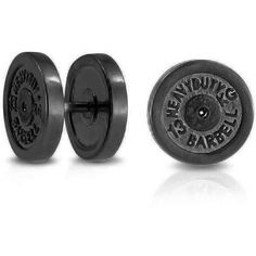 Bling Jewelry Bling Jewelry 316l Steel 16g Dumbbell Plate Synthetic... (17 AUD) ❤ liked on Polyvore featuring men's fashion, men's jewelry and grey