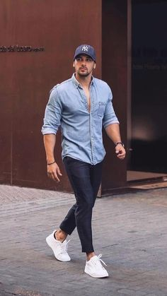Mens Casual Dress Outfits, Formal Men Outfit, Summer Outfits Men, Casual Wear For Men, Stylish Mens Outfits, Casual Shirts, Blue Shirt Outfits, Chic Outfits, Trendy Mens Fashion
