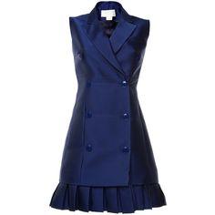 Antonio Berardi Marine Blue Duchess Waistcoat Dress featuring polyvore women's fashion clothing dresses tailored dresses blue pleated dress blue sleeveless dress antonio berardi dress sleeveless pleated dress