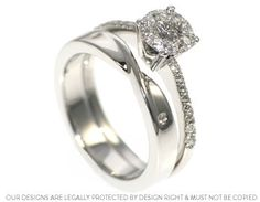 Rachel's Mobius twist fitted wedding ring with diamonds