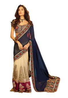 Saree Sari Sarees Fabdeal Beige & Blue Net Embroidered Saree Sari Sarees