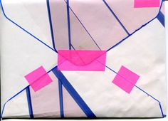 Cool patchwork envelope and colored tape