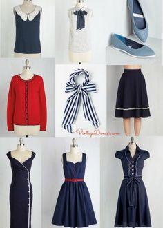 Retro vintage sailor or nautical themed clothing found at Modcloth via VintageDancer.com
