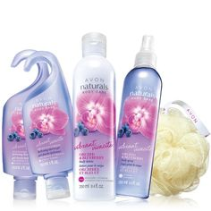 "An exotic floral glowing with sun-drenched orchid, bright blueberry & a hint of zesty grapefruit! Creates a rich, creamy lather. A $23.99 value, the collection includes: • 2 Hydrating Shower Gels - each, 5 fl. oz. a $4 value• Body Lotion - 8.4 fl. oz. a $ 6 value • Body Spray - 8.4 fl. oz. a $8 value • Avon Shower Pouf - 5"" diam a $1.99 value"