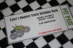 Monster Truck Birthday Party - DIY home decor and crafts 4th Birthday Parties, Birthday Bash, Birthday Party Invitations, Birthday Ideas, Birthday Stuff, Monster Truck Birthday, Monster Party, Monster Trucks, Monster Jam