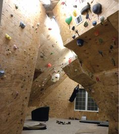 DIY: Home Climbing Gym  if space allowed... this is pretty amazing..