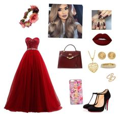 """""""Untitled #11"""" by zairaguarcas ❤ liked on Polyvore featuring Christian Louboutin, Hermès, Forever 21, Versace, David Yurman, Amorium and Lime Crime"""