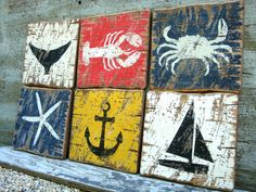 Rustic Distressed Crab Lobster Starfish Whale by TheUnpolishedBarn