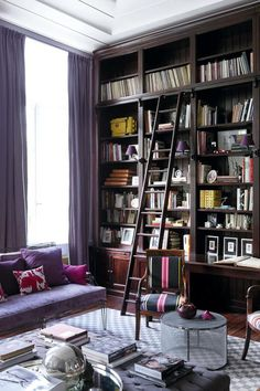 The elegant Brussels Townhouse of French and Mexican furniture designers Anne-Marie Midy and Jorge Almada of Casamidy. Library Ladder, Library Wall, Mexican Furniture, Shed Homes, Uk Homes, Home Libraries, My Living Room, Bookshelves, Nooks