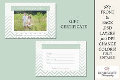 Gift Certificate Card Template  Front and Back by DovieScottPhoto, $5.79 #giftcertificatetemplate