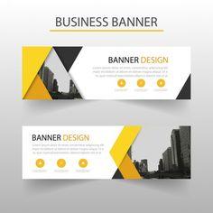 Modern banner with yellow geometric shapes free vector wizytówki best banne Web Design, Flyer Design, Layout Design, Branding Design, Design Ideas, Shape Posters, Graphic Design Posters, Banner Vector, Web Banner