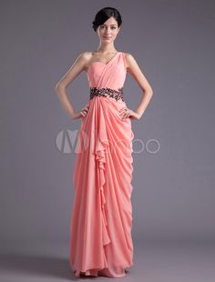 Sheath Watermelon Chiffon Beading One-Shoulder Ruched Bridesmaid Dress - Milanoo.com